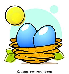 tierwelt, eier, nest, abbildung, projekt, vektor, dein