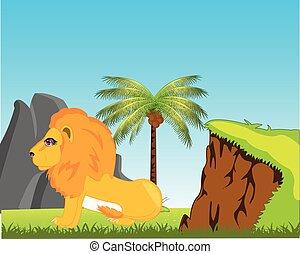 tierwelt, löwe, in, afrikas