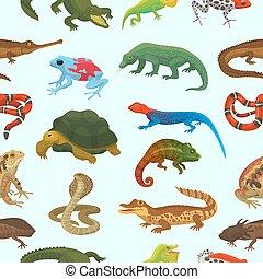 tierwelt, tier, natur, muster, chamäleon, reptil, abbildung, seamless, krokodil, eidechse, vektor, grüner hintergrund, reptilisch, wild, turtle, schlange, amphibie