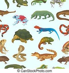 tierwelt, tier, natur, reptilisch, chamäleon, reptil, abbildung, freigestellt, krokodil, eidechse, vektor, amphibie, hintergrund, turtle, wild, grüne schlange, weißes
