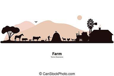 tierzucht, silhouette, landwirtschaft