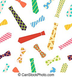 Ties and bow ties pattern in cartoon style.