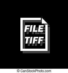 tiff, pictogram, bestand, plat