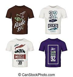 tige, classique, vendange, set., haut, t-shirt, chaud, vecteur, motocyclette, voiture, logo, railler