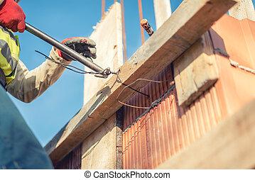 tige, infrastructure, conseils, obtenir, bois, ouvrier, -, renforcement, béton, fil, détails, mains, construction