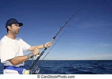 tige, pêcheur, peche, pêcheur, trolling, bobine