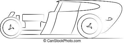 tige, retro, vecteur, voiture, illustration, chaud