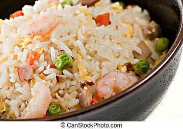 tigela, camarão, closeup, fritar, arroz, movimento
