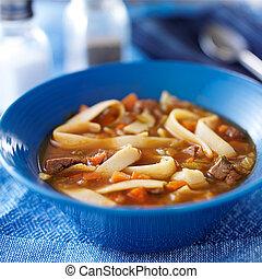tigela, carne, e, sopa noodle