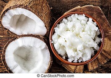 tigela, coco, óleo, e, fresco, cocos