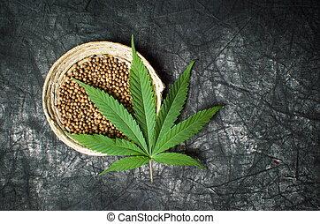 tigela, escuro, cannabis, sementes, fundo, textured