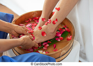 tigela, femininas, pés, spa, salão, flores, madeira