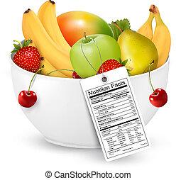 tigela, fruta, saudável