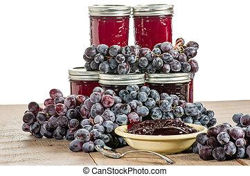 tigela, jarros, uva, geléia, isolado