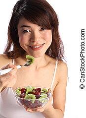 tigela, menina, fruta, comer, oriental