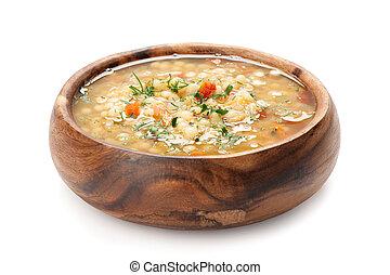 tigela, quente fresco, sopa minestrone