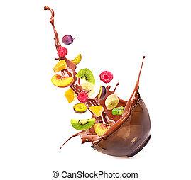 tigela salada, isolado, chocolate, fruta, fundo, branca