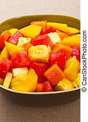 tigela salada, um, fruta tropical, misturado