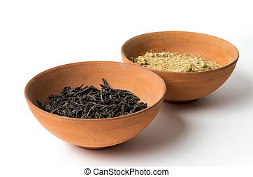 tigela, secos, folhas, chá