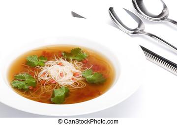 tigela, sopa noodle, com, carne, caldo