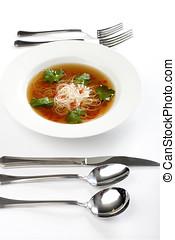 tigela, sopa noodle, com, utensílios