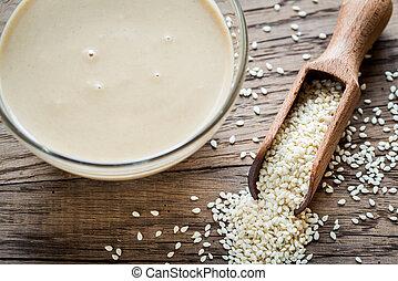 tigela, tahini, com, sementes sesame