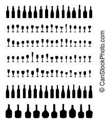 tigelas, garrafas, e, óculos