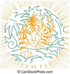 tiger, ícone, natureza