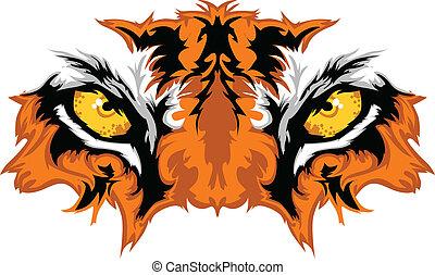 tiger, øjne, grafik, mascot