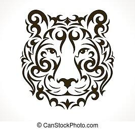 tiger, čepobití, vektor, ilustrace