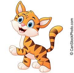tiger, かわいい, 微笑, 幼獣, 内気