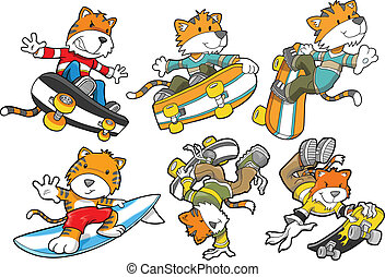 tiger, サーフィンをしなさい, セット, スケートボード, ベクトル