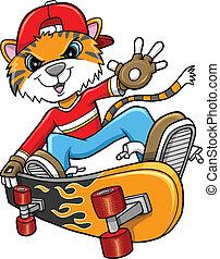 tiger, ベクトル, サファリ, skateboarder