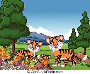 tiger, ポーズを取る, 漫画, 家族