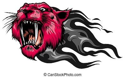 tiger, マスコット, ベクトル, 頭, イメージ, ほおひげ