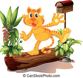 tiger, メールボックス, 庭, 若い