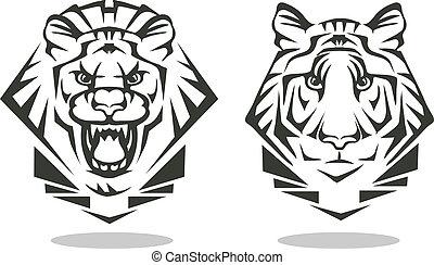 tiger, ライオン