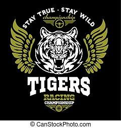 tiger, 以及, 翅膀, -, 標識語, 圖表, design., 標識語, 屠夫, 標簽, 手臂, 馬達,...