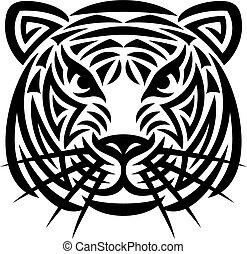 tiger, 入れ墨, 頭, (tiger, face)