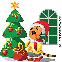 tiger, 冬, クリスマス, 色