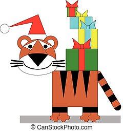 tiger, 冬, クリスマス, 色, 04