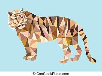 tiger, 多角形, 三角形, 低い, style.