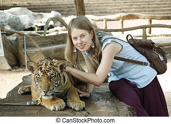 tiger, 女の子, 若い