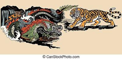 tiger, ∥対∥, イラスト, ドラゴン
