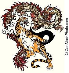 tiger, ∥対∥, ドラゴン, 入れ墨