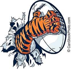 tiger, 強く心を惹かれる, ボール, ラグビー, 足