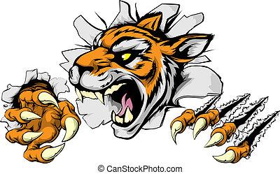 tiger, 怒る, スポーツ, マスコット