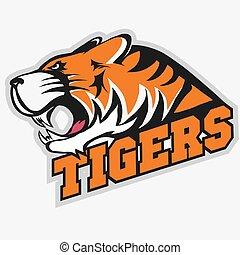 tiger, 怒る, スポーツ, 紋章, チーム