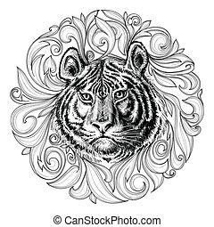 tiger, 抽象的な額面, 装飾, 黒, 白