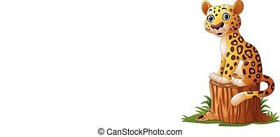 tiger, 木の 切り株, 漫画, モデル